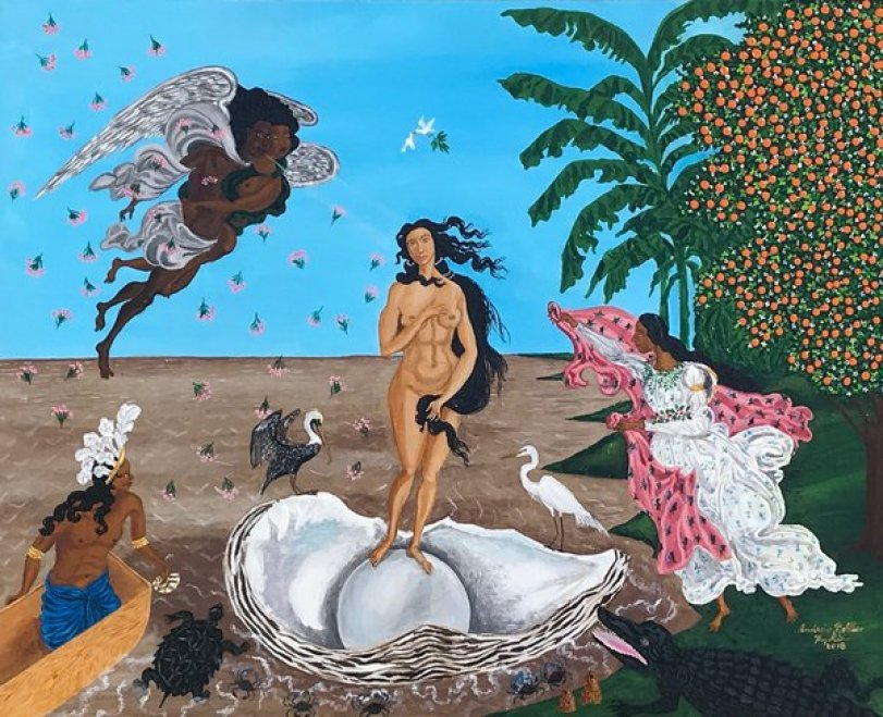 """replica of The Birth of Venus"""" with african american figures"""