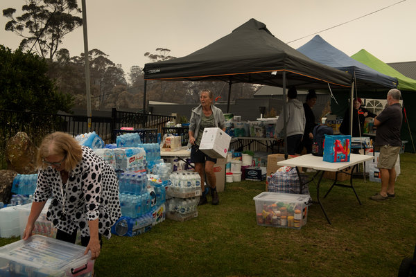 A makeshift donation center in Conjola Park, New South Wales.