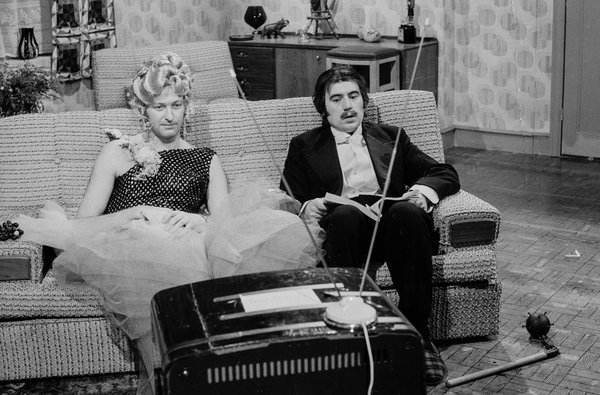 "Graham Chapman and Terry Jones in a sketch from the show ""Monty Python's Flying Circus."""