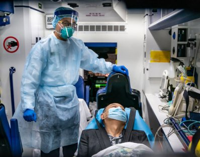 A patient is transferred by ambulance to the Infectious Disease Centre of Princess Margaret Hospital Hong Kong.