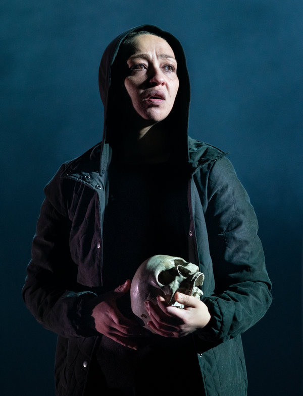 "Ruth Negga as the title character in ""Hamlet,"" a Gate Theater production now at St. Ann's Warehouse."