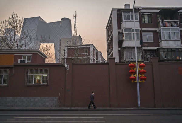 A nearly empty street in Beijing on Tuesday.