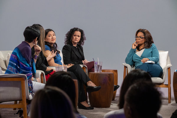 """Oprah Winfrey discussed her January book club selection """"American Dirt"""" with, from left,Esther Cepeda, Julissa Arce, Reyna Grande, and the book's author Jeanine Cummins."""