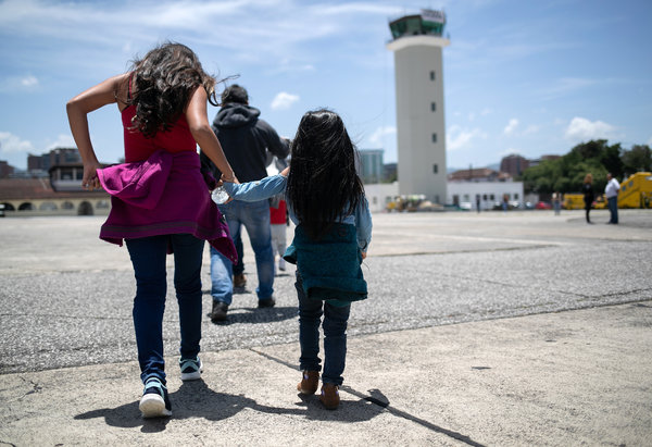 Guatemalan children arriving in Guatemala City after being deported from the United States in 2019. Under existing agreements and policies, children from countries other than Mexico are supposed to be put on flights to their home countries, where they can be reunited with their families.
