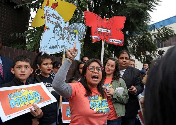 Cristina Jiménez protested in favor of the DACA program in Los Angeles in 2018.