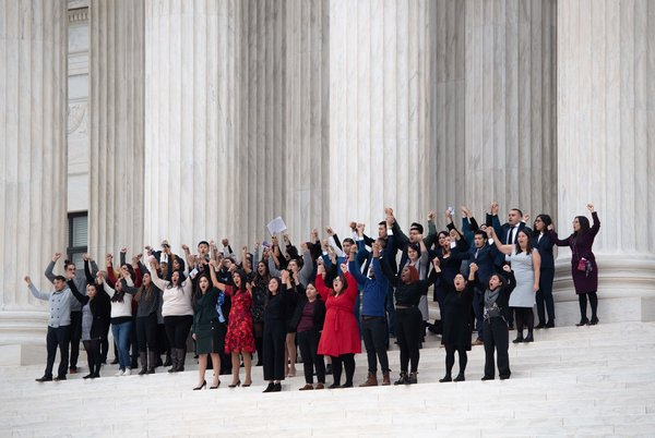 DACA plaintiffs on the steps of the Supreme Court in Washington in November after arguments for and against the Obama-era program were presented.