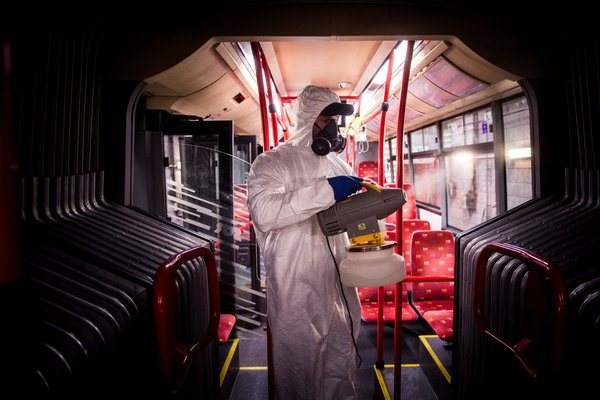 A worker disinfected a bus in Bratislava, Slovakia, on Wednesday.