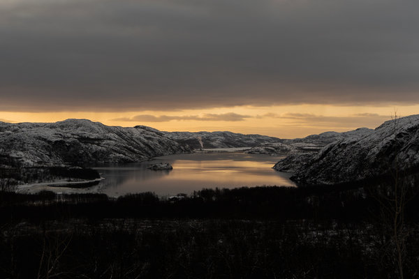 A fjord near Kirkenes, a small Norwegian town close to the Russian border.