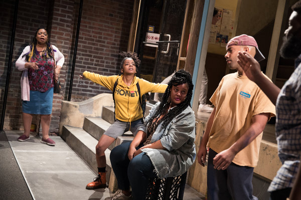 "From left, Benja Kay Thomas, Kara Young, Pernell Walker, Sean Carvajal and Neil Tyrone Pritchard in ""Halfway Bitches Go Straight to Heaven."""