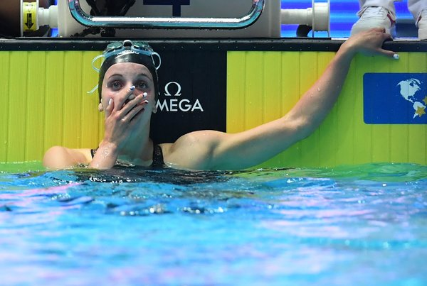 Smith as she saw the world-record time for the 200-meter backstroke posted.