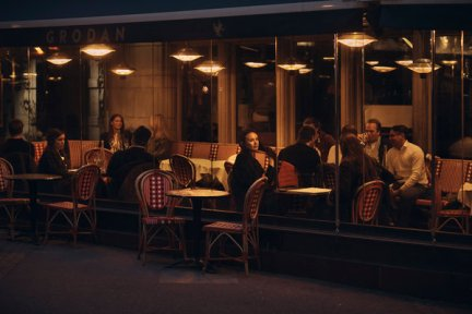 Diners at a restaurant in Stureplan, Stockholm, on Friday.