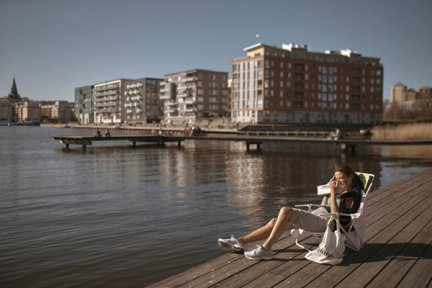 Basking in the sun after a long winter. At least one person in Stockholm was obeying social distancing rules.