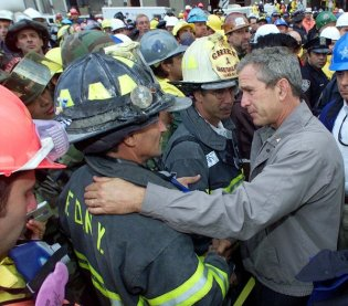 Three days after the Sept. 11 attacks, President George W. Bush met with emergency workers at the World Trade Center site.
