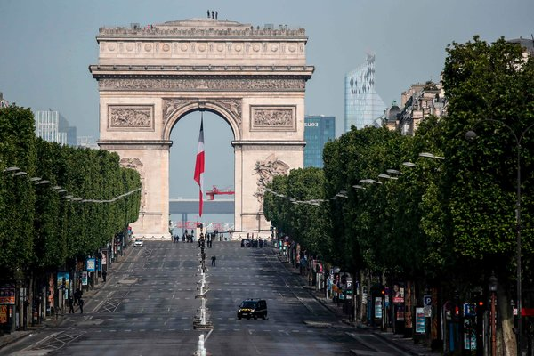 The Champs-Élysées in Paris on Friday. The avenue is usually thronged for the ceremonies of May 8.