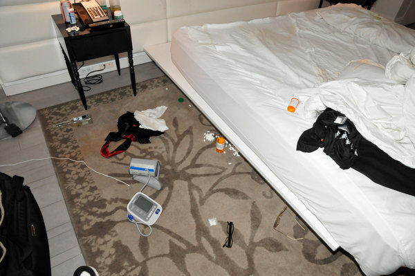 The Miami Beach Police Department released this photograph of the hotel room where Mr. Gillum was found in March.