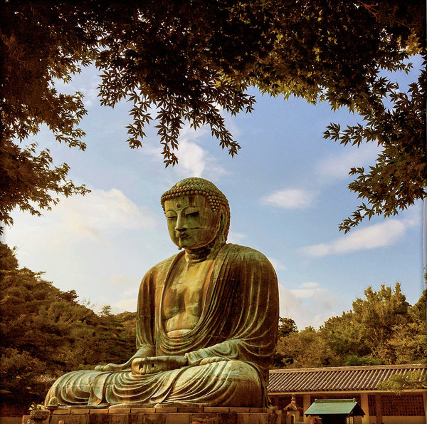 The Great Buddha of Kotoku-in, a Buddhist temple in Kamakura, Japan. The bronze statue, just over 43 feet tall, was likely erected in A.D. 1252, in the Kamakura period.