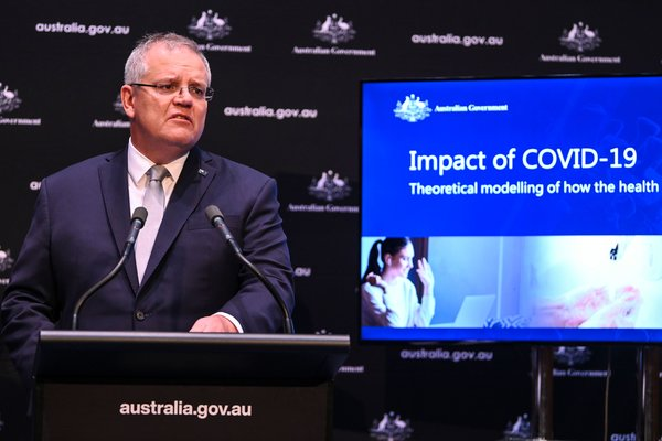 """Prime Minister Scott Morrison at a news conference at Parliament House in Canberra, Australia, on April 7.""""Today is not about ideologies,"""" he has said. """"Wechecked those at the door."""""""