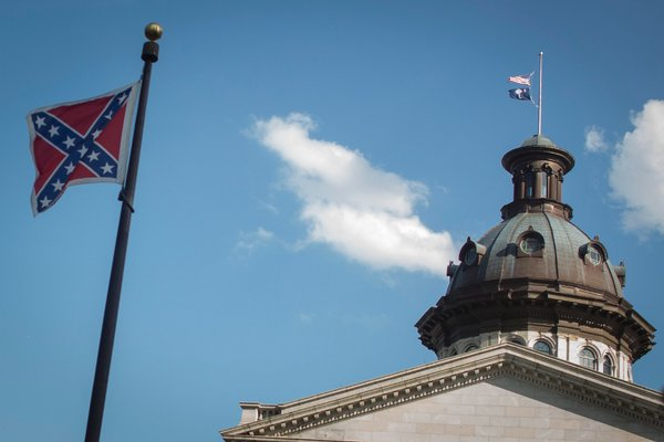 The Confederate flag at the South Carolina State House Building in Columbia, South Carolina, in 2015 before it was removed.