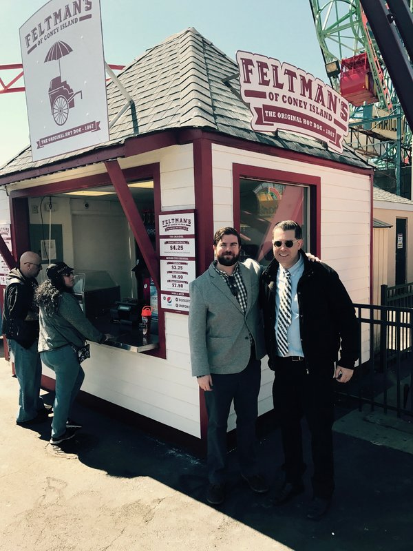 From left, Joe and Michael Quinn, in front of their Coney Island kiosk, which was open in 2017 and 2018.
