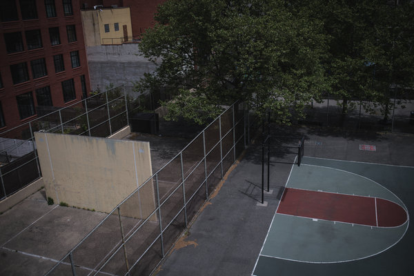 A basketball court at a playground in the Lower East Side of Manhattan sat empty over the weekend.