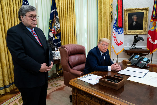 President Trump spoke before signing an executive order on Thursday in the Oval Office. He was joined by Attorney General William P. Barr.