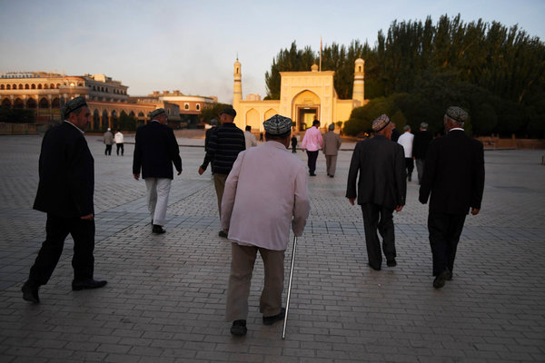 Uighur men in China's northwest Xinjiang region last year.China has put up to a million Uighurs in indoctrination camps.