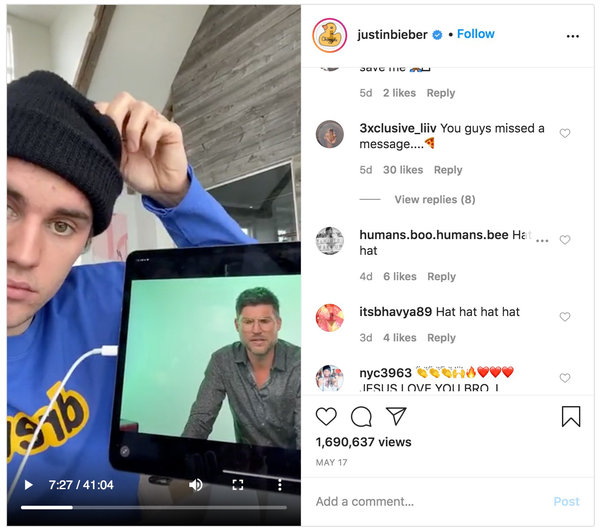 In a recent video on Instagram, Justin Bieber touched his beanie. Some PizzaGate believers said the action was evidence that he had been a victim of sex trafficking.