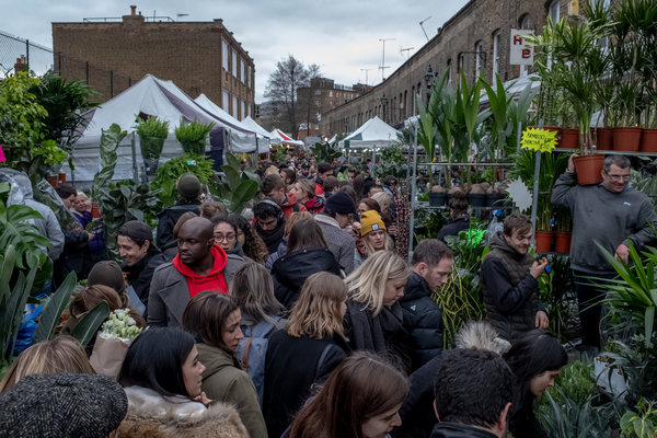 London's Columbia Road flower market was packed as usual in March.