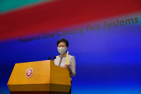 "Carrie Lam, Hong Kong's leader, has said the law would target an ""extremely small minority of illegal and criminal acts and activities."""