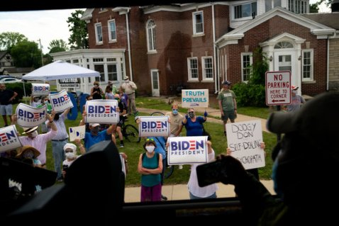 Supporters of former Vice President Joseph R. Biden Jr., the presumptive Democratic nominee, gathered along Mr. Trump's motorcade route during a trip to Wisconsin in June.