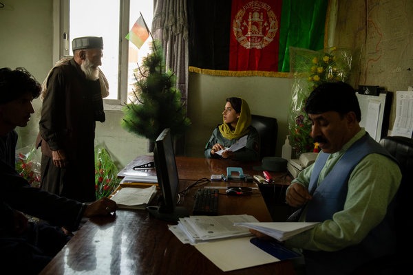 Lieutenant Zazai in her office at Police Headquarters in Khost.