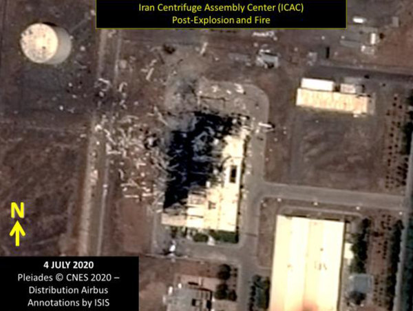 A satellite image of the destruction at Natanz, as seen on July 4.