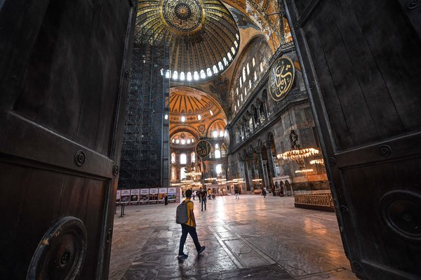 Visiting Hagia Sophia on Friday. For the last 80 years the World Heritage site has been a museum, open to all.