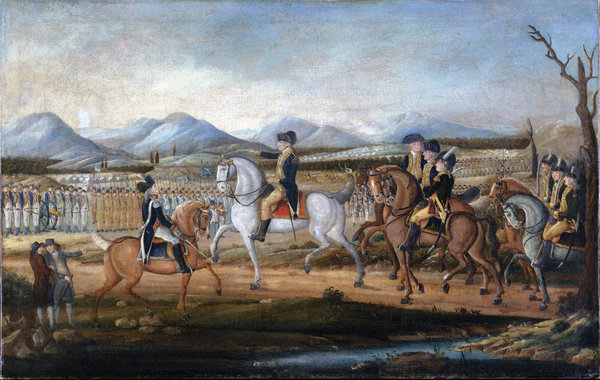 A painting attributed to Frederick Kemmelmeyer depicts George Washington and his troops preparing to march to suppress the Whiskey Rebellion in Pennsylvania.