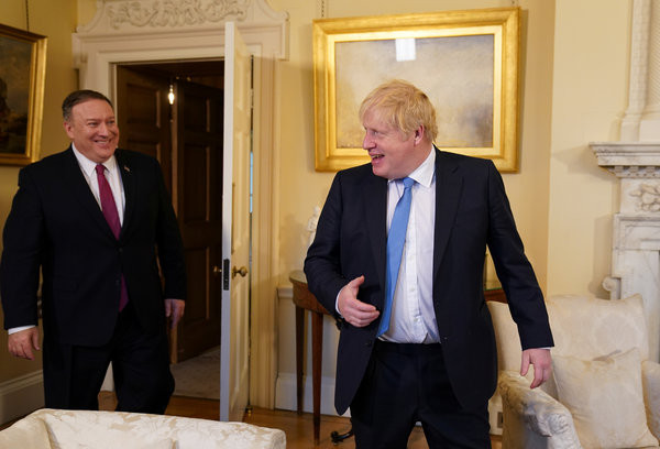 U.S. Secretary of State Mike Pompeo with Prime Minister Boris Johnson in London in January.