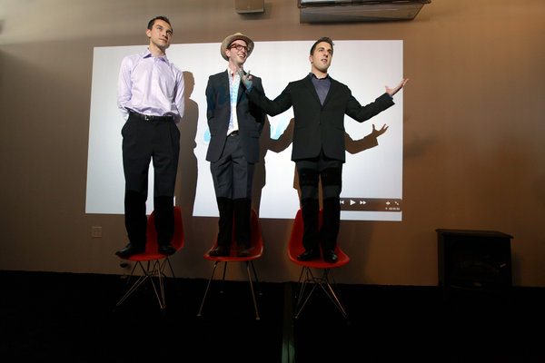 Airbnb's founders, from left, Nathan Blecharczyk, Joe Gebbia and Mr. Chesky, at a party celebrating their new San Francisco headquarters in 2011.