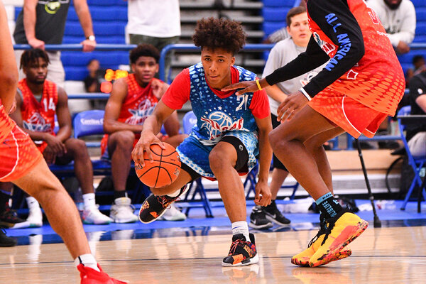Mikey Williams during a June 2019 camp in Norwalk, Calif. Williams grabbed attention in the college basketball world when he said he would consider attending a historically Black college or university.