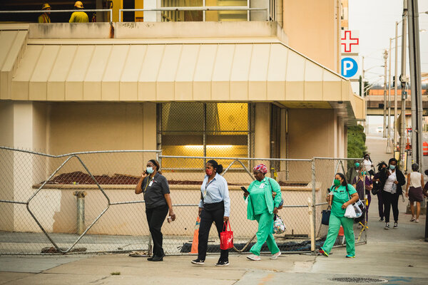 Health care workers arrived for a shift at Grady Memorial Hospital in downtown Atlanta last week.