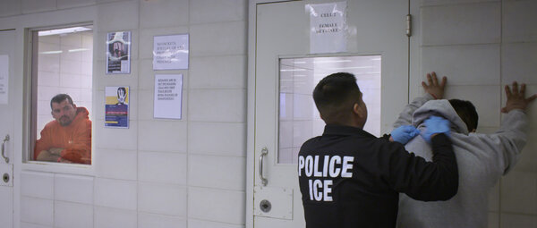 "A still from the first episode of ""Immigration Nation"" shows people who were arrested by Immigration and Customs Enforcement in New York, including someone who was not the intended target."