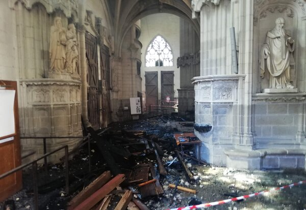 The fire in the Nantes cathedral was quickly brought under control by firefighters, but not before it had consumed a 17th-century organ.