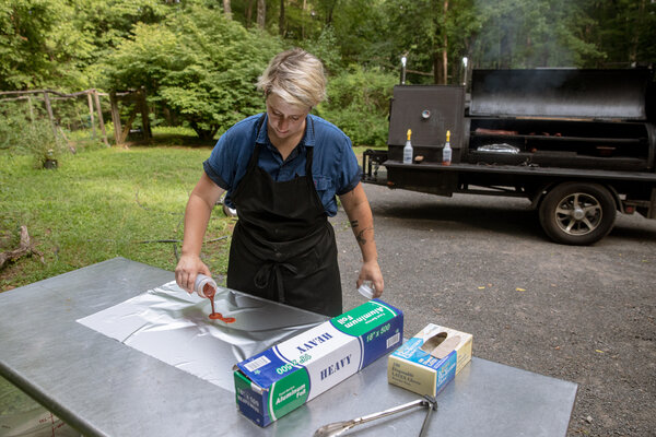 """""""I'm going to be a female pitmaster on the roadside in upstate New York until the weddings come back,"""" said Holly Sheppard, who started her Brooklyn catering business, Fig & Pig, in 2011."""