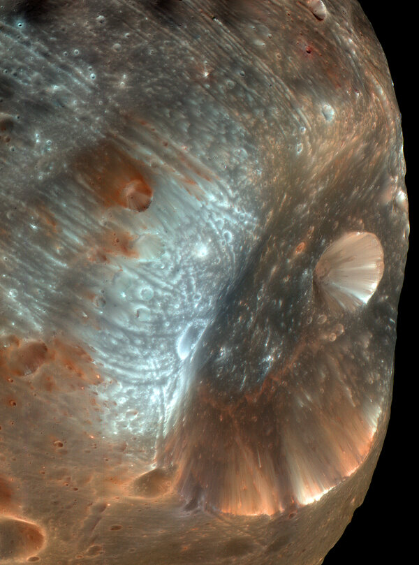 A close-up view of Phobos, the larger of Mars's two moons. It is 17 miles across, and will be visited by a Japanese mission, MMX.