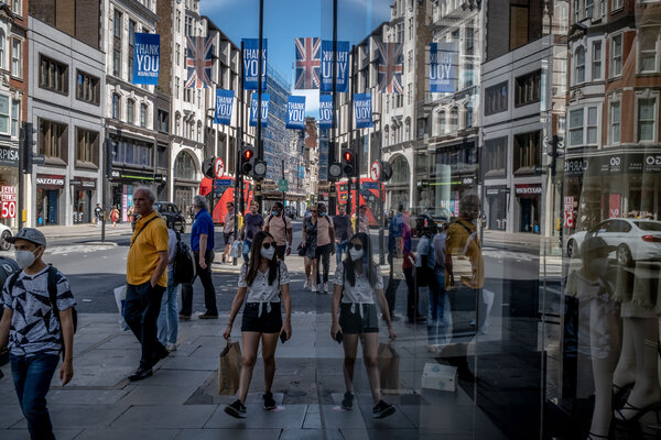 Shoppers on London's busiest shopping street, Oxford Street. Consumer spending in Europe has shown signs of improvement.