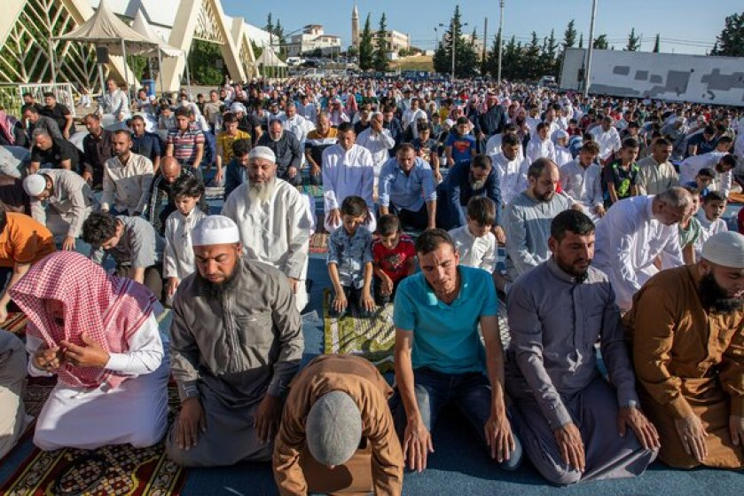 An Eid al-Adha prayer service on Friday in Amman, Jordan, where temperatures regularly go above 115 degrees.