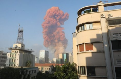 Smoke rising from the scene of an explosion in Beirut on Tuesday.