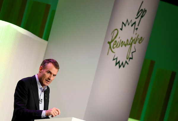 """Bernard Looney, BP's chief executive, outlined an effort to shift the company away from being an international oil company to what he called an """"integrated energy company."""""""