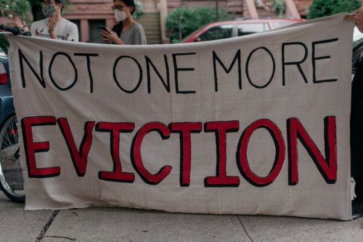 An eviction protest in Brooklyn on July 31. Millions of tenants risk losing their homes in the coming months, according to a new report.