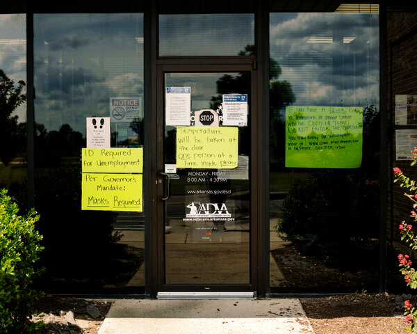 An unemployment office in Forrest City, Ark. Adapting state computer systems to incorporate federal supplements to jobless pay has been a challenge.