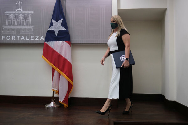 Puerto Rico's governor, Wanda Vázquez, at a news conference in San Juan in July.