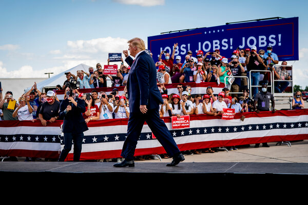 President Trump during a campaign rally in Oshkosh on Monday.